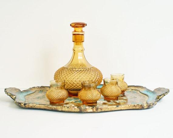 Vintage Decanter Set with 4 Glasses
