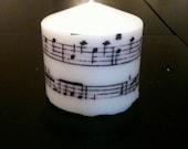 Small Sheet Music Pillar Candle