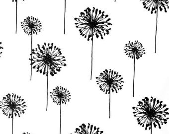 Black Dandelion on White Fabric - One Yard - Premier Prints Fabric