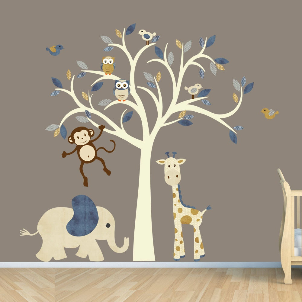 Cream tree decal denim color boy room wall decal jungle for Boys wall mural
