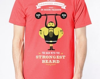 "T-Shirt ""The Strongest Beard"" pomegranate"