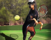 Painted reproduction of my own art Doberman playing tennis