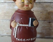 Vintage Friar Tuck Monk Coin Bank Made in Japan