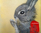 "Original Acrylic Animal Fine Art Painting Bunny Portrait on Gallery Canvas Titled: PRECIOUS BUNNY 4x4x1.5"" by Ms. Emily M."