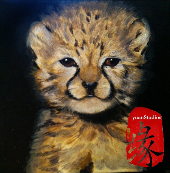 """Original Acrylic Animal Fine Art Painting Figurative Portrait on Gallery Canvas Titled: BABY GUARDIAN 10x10x1.5"""" by Ms. Emily M."""