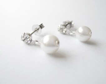 Silver Stud Earrings with crystals and white Pearls