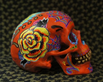 One of a Kind - Custom Painted Day of the Dead Skull - MADE TO ORDER