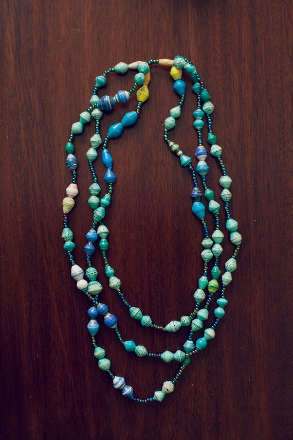three stand recycled paper bead necklace handmade in uganda