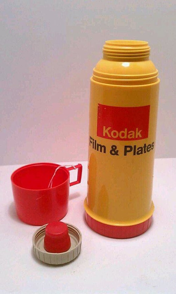 SALE Vintage Kodak film and plates Thermos yellow red black plastic complete