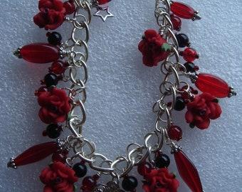 Red rose cameo bracelet
