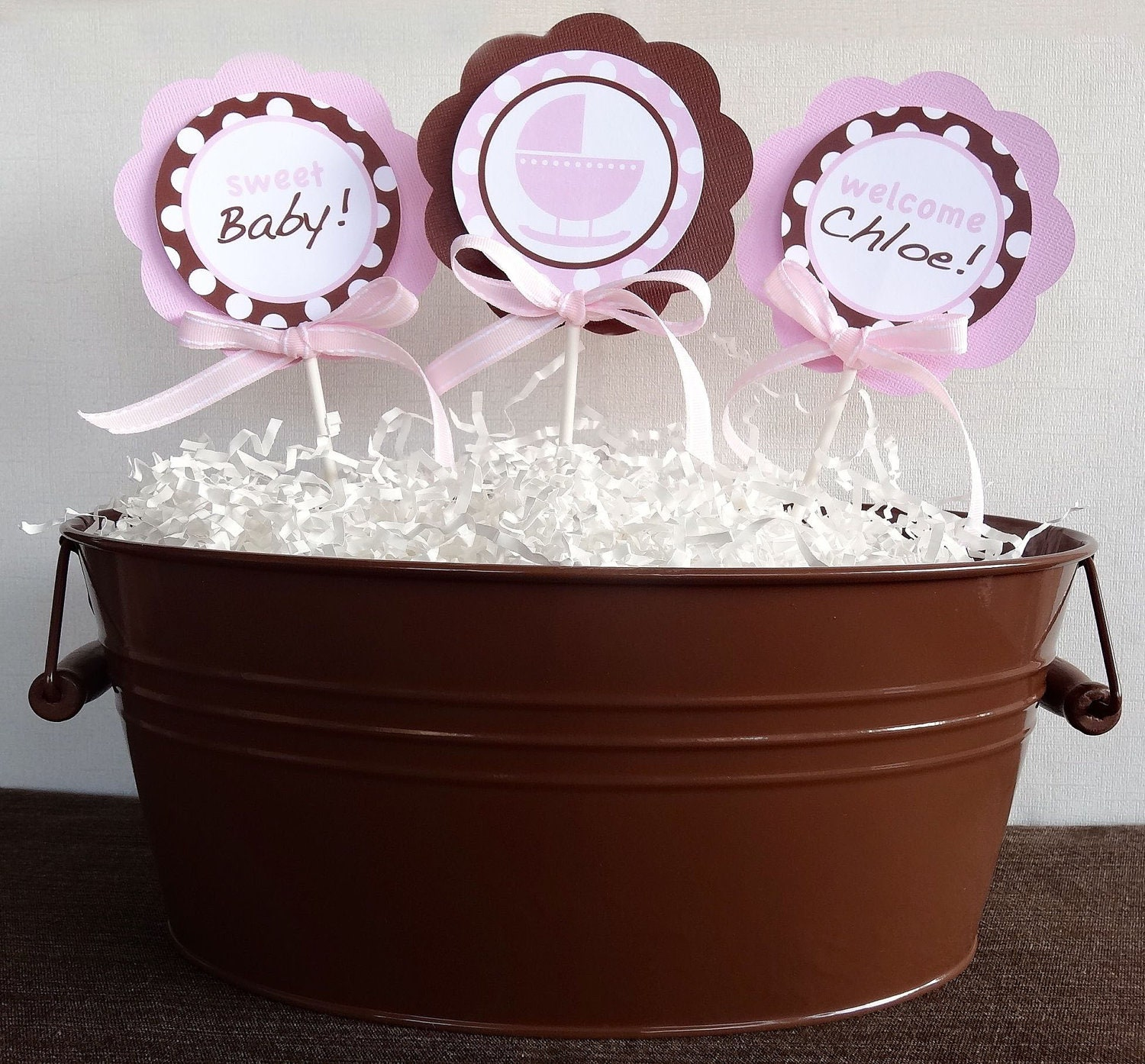 items similar to baby shower centerpiece pink and brown baby shower