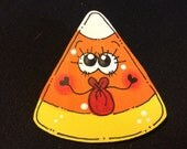 Funky Face Crazy Eyes Candy Corn Kissy Lips Girl Pin for Halloween