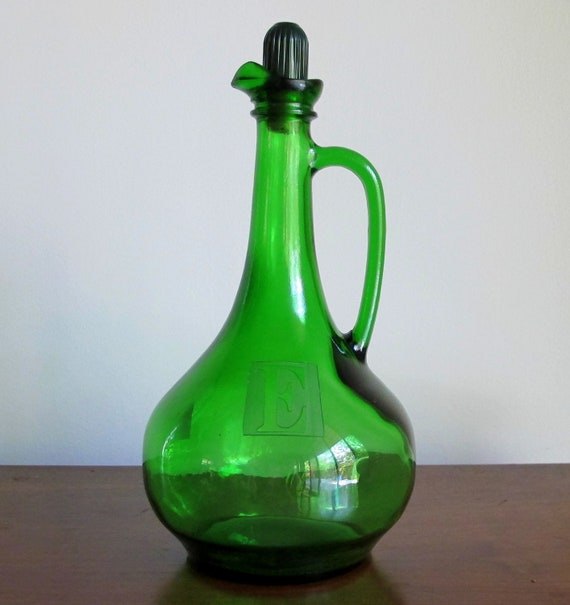 "Emerald Green 1976 Wine Decanter Etched with Letter ""E"""