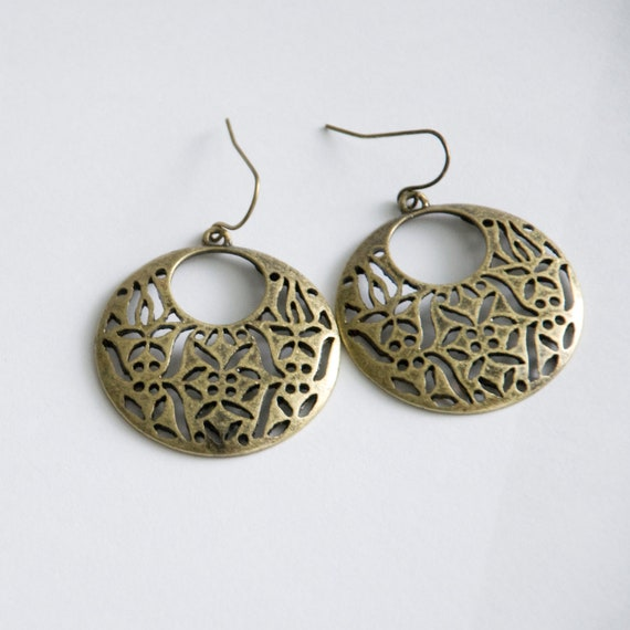 bronzed circular art deco earrings