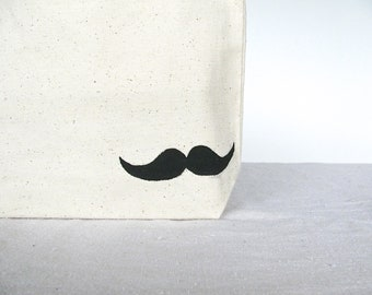 "Small Canvas Tote Bag - Mustache Tote Bag - Hand painted Mustache 10 3/4"" x 8 1/4"" Tote Bag"