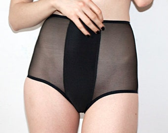 Black Sheer High Waist Panties with Solid Stripe