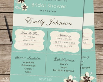 PRINTABLE Bridal Shower Invite -Custom JPEG/PDF