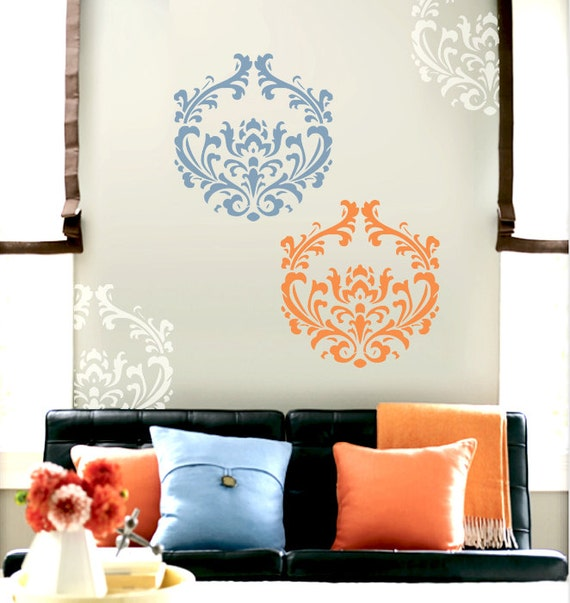 Wall Stencil  Damask Pattern Wall Room Decor Made by OMG Stencils Home Improvements Color Paintings 0025