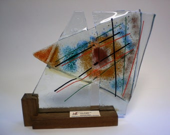 Abstract Fused Glass Sculpture