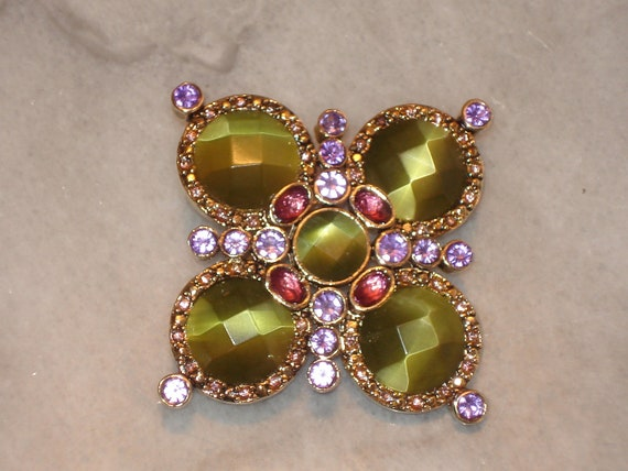Vintage Monet Brooch With Unusually Cut Large Stones and Rhinestones - Green & Pink