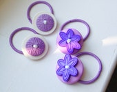 ThreeSmarties 2 Pairs of Mixed Purples Handmade Beaded Ponytail Holder Accessory - Size Medium - Hair tie/pigtails/girl fashion