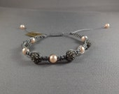 Macrame Bracelet - Gray with Gray Crystal Shamballa Beads and Peach Pearls
