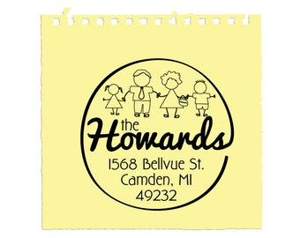 Custom Address Stamp, Family Stamp with Character Choices, Pre-inked, Camden
