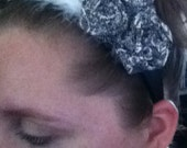 Flowered Fabric Rosettes Head Band with Feathers