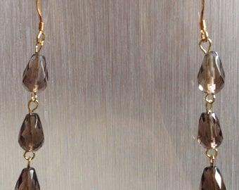 Smokey Quartz Earrings - Genuine Gemstone