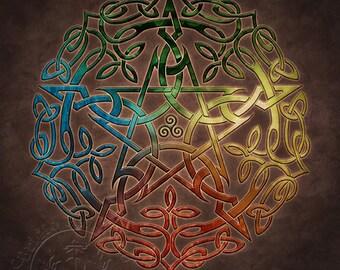 Elemental Celtic Pentacle -  Pagan Wiccan Print - Brigid Ashwood