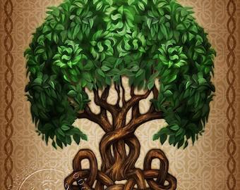 Celtic Tree of Life  -  Pagan Wiccan Print - Brigid Ashwood