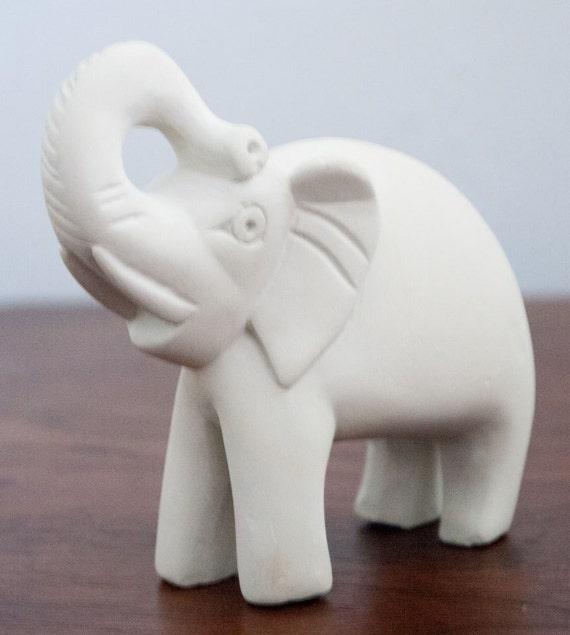 Ceramic Vintage Elephant Figurine White Unpainted