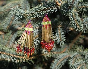 Festive Handbeaded Dangle Earrings