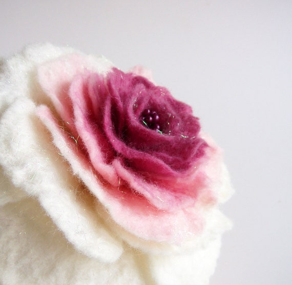 "Flower Brooch, Wool Felt Jewelry ,Felted Flower ,Pink Flower, ""Fairy rose in white and pink"""