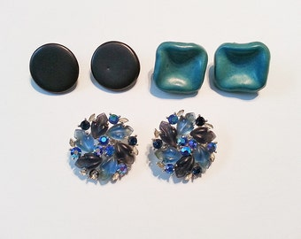 3 Pairs of Vintage Clip Earrings Blue Gray  FREE SHIPPING
