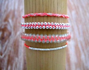 Bracelet Stack, Bright Bracelet Stack with tassels, Friendship Bracelets - Arm Candy