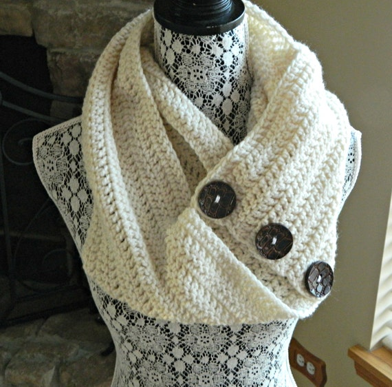 Infinity Scarf With Buttons Knitting Pattern : Items similar to CREAM INFINITY SCARF-adult on Etsy