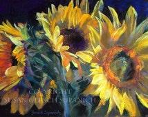 """Art Print - Sunflowers  """"Seeds of Gold"""" colorful yellow flower still life painting  11 x 14 print -  Susan Gersch Supanich"""