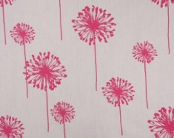 One Yard Dandelions in White and Candy Pink 100% Cotton Fabric