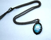 Turquoise Rose Cameo Necklace