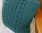 Hand Knitted Teal Green Cushion Cover