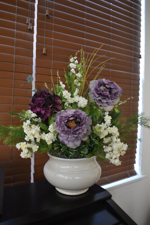 Peony flower arrangement purple peonies hydrangeas silk