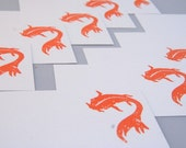 Koi Fish in Orange Enclosure or Correspondence Card Set, Wedding Guest Book Alternative, Party Favor Gift Tags, Koi Place Cards