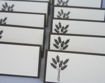 Wheat Place Card Set for Thanksgiving and All Occasion set of Twelve, Wedding Place Cards, Autumn Wedding Decor