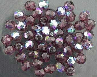 25 amethyst ab czech fire crystal beads 4mm