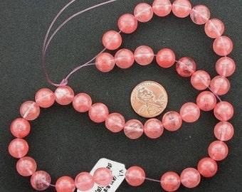 10mm round gemstone cherry quartz beads