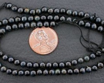 4mm round gemstone blue tigereye beads 15 inch strand