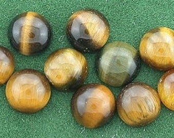 10 - 6mm round tigereye cabochon gem stone gemstone