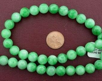 10mm round gems cotton candy jade beads