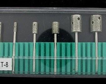 8 piece shanked core drill set for flex shaft machine 3/32inch shaft